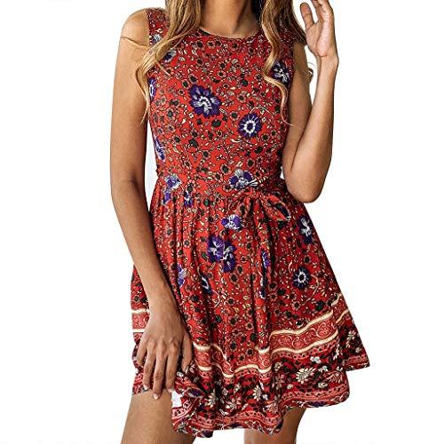 ❤HappyQn❤ Sommerkleid Damen Boho O-Ausschnitt Vintage A-Linie Minikleid Swing Strandkleid mit Gürtel