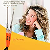 immagine prodotto conico ferro arricciacapelli ,9mm Tourmaline + Ceramic ferro arricciacapelli- Intelligent Temperatura Curling Rod ° Rotary Cutter 360 Rotary Hair Sticks Wet & Dry professionali Hair Styling Tools
