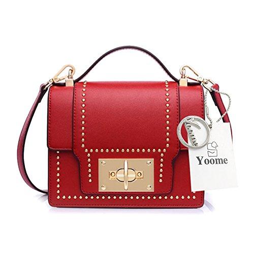 Yoome Punk Style Fashion Ribattini Flap Elegante Retrò Fibbia Borse Medium Crossbody per le donne - Rosso Rosso