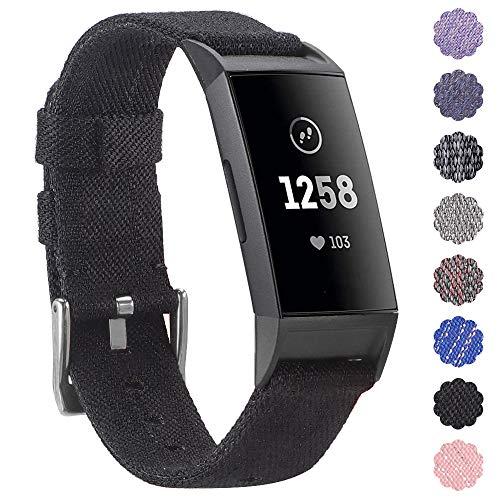 KIMILAR Armbänder Kompatibel mit Fitbit Charge 3 Armband Stoff, Schnellspanner Nylon Ersatzband Armbänder mit Edelstahl Handgelenk Verschluss für Fitbit Charge 3 & SE Fitness Tracker - Stoff-armband Verschluss