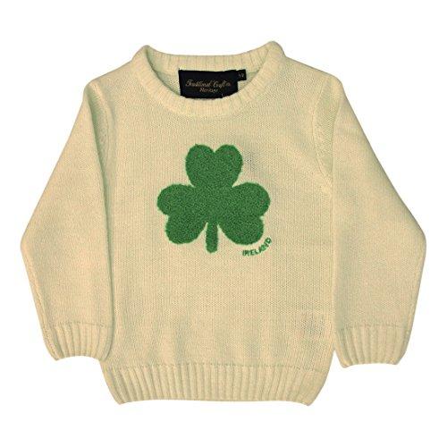 Rund Hals Irland Kinder Pullover mit flauschig Shamrock, Farbe: Creme, cremefarben ,1-2jahre Shamrock Creme
