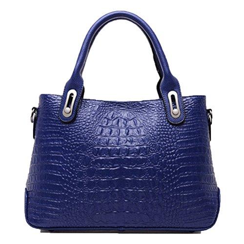 Honeymall-Sac PU Cuir Femme Sac à main La mode de haute qualité Sac Porté épaule La couleur Pure Bleu