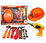 HTUK® Children Tool Kit Including A Helmet And Accessories 15 Piece Kids Tool Set With Battery Operated Drill