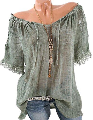 Sommer Damen Lang Shirt Fashion Ein Wort Kragen Bandage Kurzarmshirts Tuniken Bluse Freizeit Locker Oberteile Spitze Stitching Hemden Tops T-Shirt