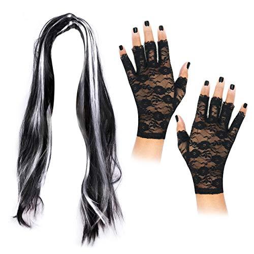 Robelli Lange Schwarze Halloween-Perücke mit fingerlosen Spitzen-Handschuhen