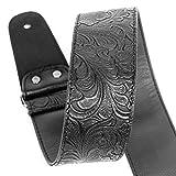 Cinturino per chitarra, cinturino in pelle stampata in cuoio PU cinturino in cotone Western Vintage 60's con cinture di cuoio originali per chitarra elettrica, gamma completa di regolazione