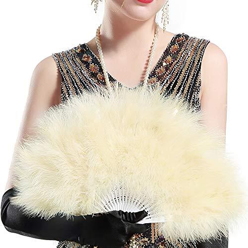 ArtiDeco Damen Fächer Marabou Feder 1920s Vintage Stil Retro Handfächer Damen Gatsby Kostüm Flapper Zubehör (Champagner)