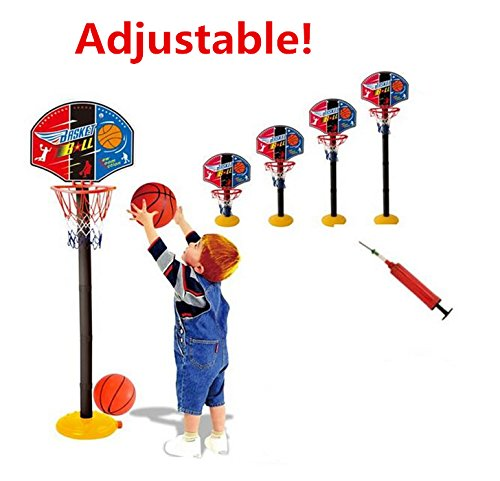 HappyToy Mini Adjustable Basketball Hoop Elevated Type Basketball stand Basketball Game Sports Toy- Indoor Outdoor Fun Sports Novelty Toy With one basketball and one inflator