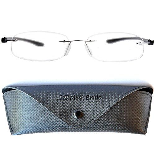 Lesebrille randlos mit ovalen Gläsern - mit GRATIS Etui | Edelstahl Rahmen (Silber) | Lesehilfe...