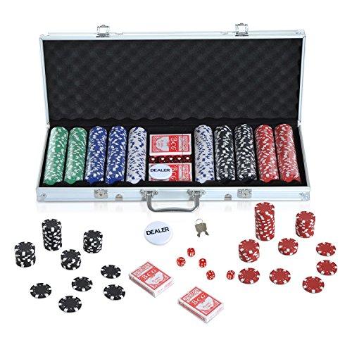 Maletín de Poker Profesional con 500 fichas y 2 Barajas Juego Set de Poker Casino Aluminio…