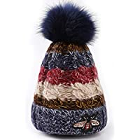 Aifulai Gorro de Lana para Mujer Sombreros de otoño e Invierno Sombrero de Punto de Cuatro Colores de Abeja Más Gorro de Terciopelo Grueso,Blue