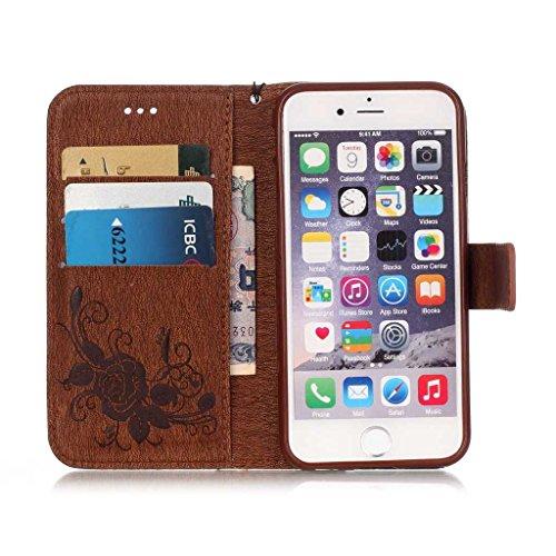 BoxTii® - Custodia a portafoglio con aletta di chiusura, in finta pelle di notevole qualità decorata con diamanti finti, dotata di cover protettiva in silicone, inserti per carte di credito e monete,  #4 Brown