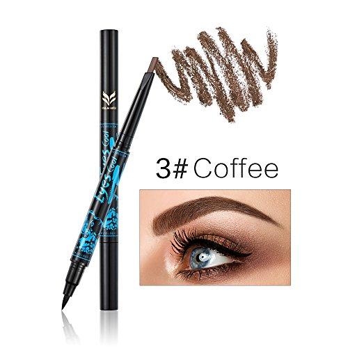 Fletion double tête automatique crayon à sourcils + eyeliner étanche durable non Halo Teinture œil cosmétique