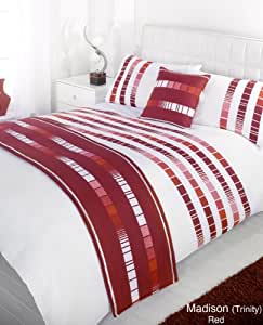 Madison Trinity Red Super King Duvet Quilt bedding Set Bed in Bag Cushion Cover Runner