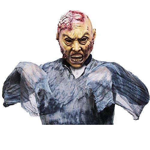 Maschera di zombie, maschera di lattice adulto di brains, novità di halloween maschera di lattice completa sopra la testa, maschera di orrore spaventoso di costume party cosplay