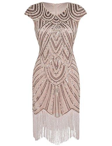 PrettyGuide Damen 1920er Gastby Diamant Pailletten verschönert mit Fransen Flapper Kleid Champagner...