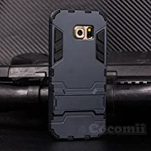 Galaxy S6 Funda, Cocomii Iron Man Armor NEW [Heavy Duty] Premium Tactical Grip Kickstand Shockproof Hard Bumper Shell [Military Defender] Full Body Dual Layer Rugged Cover Case Carcasa (Black)