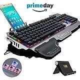 NORMIA RITA 104 Laut Klickt Mechanische Gaming Tastatur, Hintergrundbeleuchtung RGB LED Gaming-Tastatur, Beleuchtete Mechanical Keyboard mit Handy Halter - gebürstetes Aluminium - Blau Switch 60g