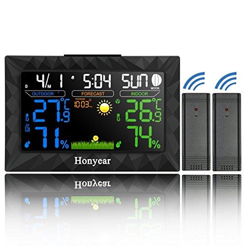 HONYEAR-Wetterstation mit zwei Außensensor-Deutsch Handbuch- Digital LCD Großer Bildschirm Display-inkl. Feuchte / Barometer / Wecker / Uhr / Innen Außen Temperatur Digitale Hygrometer