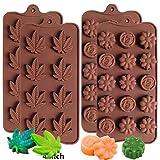 IHUIXINHE Silikon Schokoladenform, 4PCS Blatt und Blütenform Backförmchen, Silikonform für Schokoladen Herstellen für Hochwertige Silikonformen für Schoko-Pralinen, Blumen Motiv