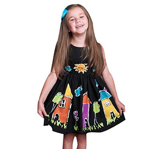 Baby-Mädchen-Kind scherzt Karikatur-Knopf Sundress Kleidung Prinzessin Casual Dress