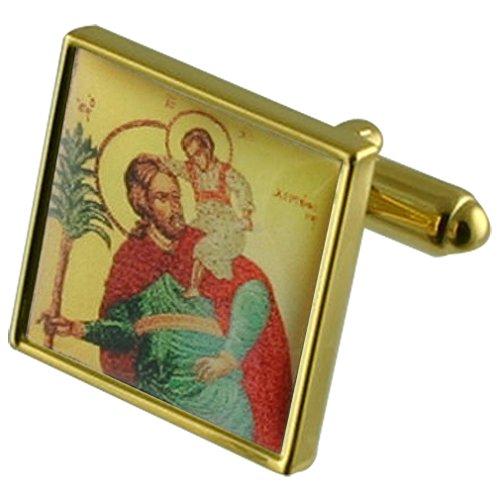 St. Christoph Reisenden gold Manschettenknöpfe Wählen Sie Geschenke Beutel (Reisende Reisende Wahl)