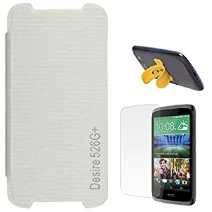 DMG Dual PU Leather Flip Cover Case For HTC Desire 526G+ (White) + Touch U Silicone Stand + Matte Screen