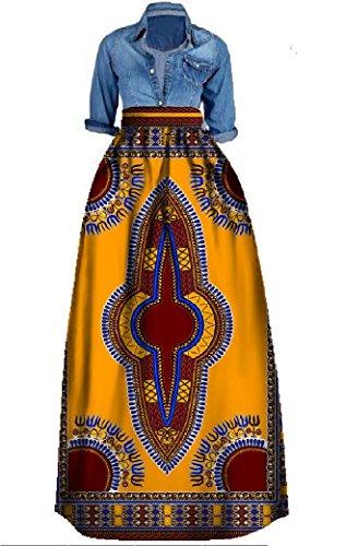 Outgobuy Damen Traditionelles afrikanisches Dashiki Kleid Langes Maxi EIN Linie Rock Ballkleid (L, Gelb + Kaffee)