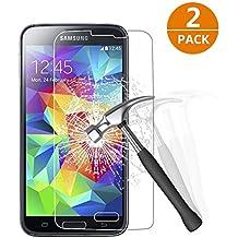 [2-Unidades] Samsung Galaxy S5 Protector de Pantalla, Y-ouni Cristal Templado Samsung Galaxy S5 Espesor 0.26 mm, 2.5D Round Edge, [9H Dureza] [Alta Transparencia] [Ultra Resistente a Golpes y Rayado] [Sin burbujas] [Ajuste Perfecto] [Garantía de por Vida] Protector Cristal Vidrio Templado para Samsung Galaxy S5