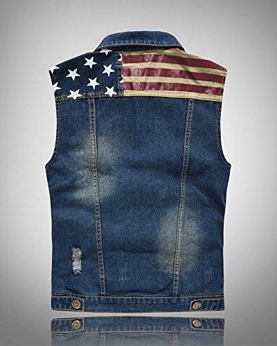 Herren Ärmellos Distressed Weste Slim Fit Beiläufige Cowboy Denim Vest Weste Jeansweste Blau