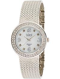 Burgi Mujer Analógico Pantalla cuarzo suizo reloj, color negro y plata