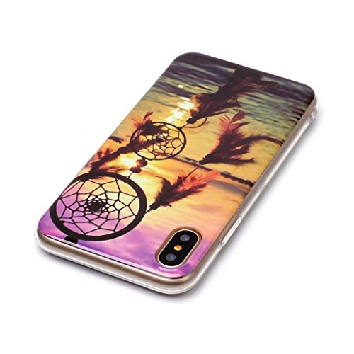 Custodia Cover Per Apple iPhone X 5.8 , WenJie Tramonto Trasparente Silicone Sottile Back Case Molle di TPU Trasparente per Apple iPhone X 5.8 A3