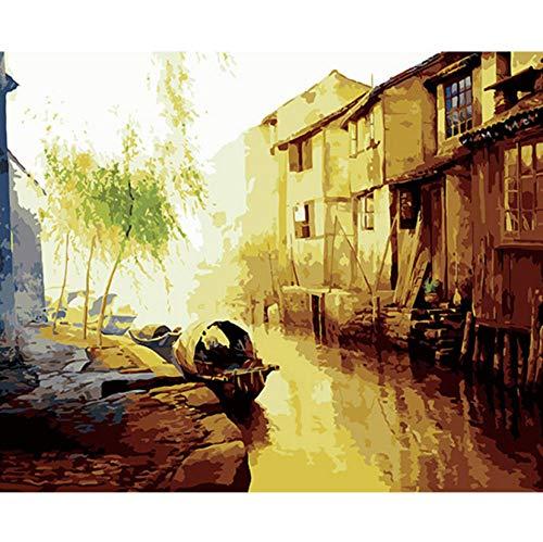 ERTQA Wandkunst mit Rahmen Bild malerei by Zahlen DIY digitales ölgemälde auf leinwand wohnkultur China Stil Wasser Stadt 40x50 cm