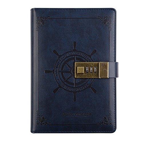 GRT Tagebuch Password Notebook Vintage PU Leder Tagebuch mit Zahlenschloss Kartenfächern Stifthalter Diary Book Notizblock Spiralnotizbuch Kunstleder Notenbücher-blöcke B6 blau