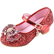 e5e68410d8633 Beudylihy Militare Scarpe con Tacco Ragazza Ballerine Bambina Cerimonia  Festa Lustrino Nozze Scarpe da Principessa Eleganti