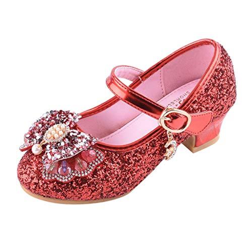 Mitlfuny Zapatos de Baile de Tango Latino para Niños Bailarina Vestir Fiesta Arco Princesa Sandalias Rhinestone Lentejuelas Zapatitos de Tacón Bebé Niña Primavera Verano Zapatillas Niñas 3-14 Años