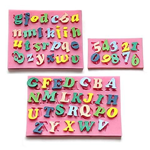 3 x Moule Lettres Chiffres Alphabet silicone pour pâte à