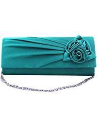 Women's Evening Handbag Clutch Bag With Shoulder Strap Satin Rose