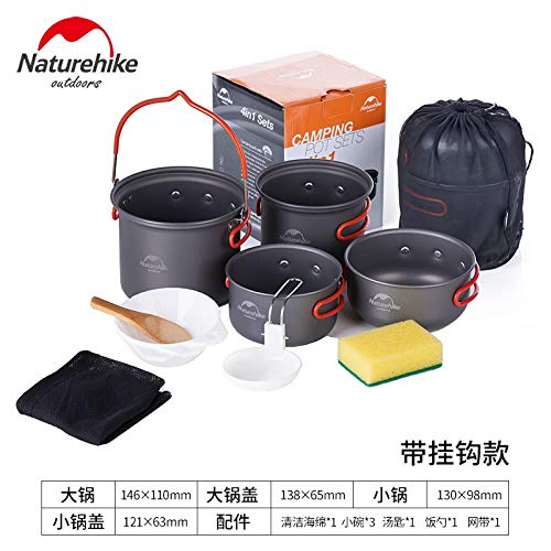 Portable Gusseisen, Einem Brenner (Camping Cookware Kit Non Stick Camping Pans Formany Peopleindividual People Portable Cook Set for Camping Hiking BBQ Picnic Outdoor Included Pan Pots Plates Stainless Steel Cooking Tool Titanium Pot)