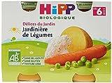 Hipp Biologique Délices du Jardin Jardinière de Légumes dès 6 et 8 mois - 12 pots de 190 g