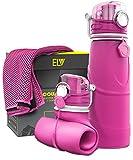 ELV Bottiglia d'acqua pieghevole e asciugamano rinfrescante, in silicone, 750ml, per campeggio, escursionismo, ciclismo, viaggi, sport e tempo libero, colore: blu, HOT PINK / HOT PINK