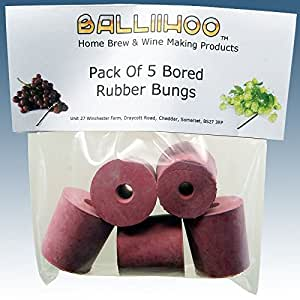 Home Brew & Wine Making - Balliihoo® Rubber Bungs To Fit Demijohn - Bored / With Hole - Pack Of 5