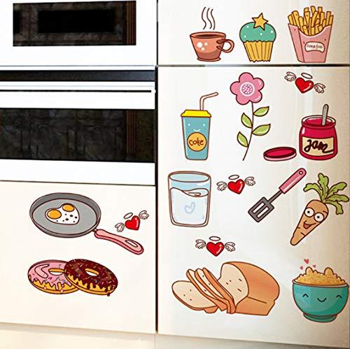 Cartoon burger toast kaffee frites diy tapete farbe entfernbare wandaufkleber küche dekoration PVC wandaufkleber 40 * 30 cm