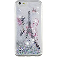HengJun Für iPhone 6 Plus/iPhone 6S Plus Handyhülle Hülle Glitter Liquid, Luxury Sparkly Bling Quicksand Cute für klares, Transparentes TPU-Hülle für iPhone 6 Plus/iPhone 6S Plus - Mädchen Turm