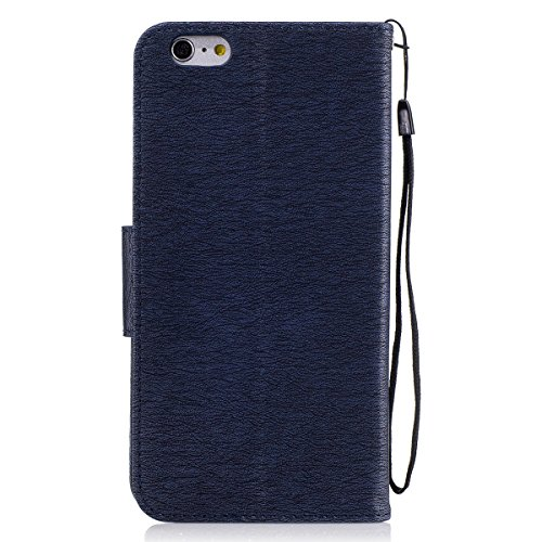 iPhone 6 Plus Custodia, iPhone 6S Plus Cover Wallet, SainCat Custodia in Pelle Cover per iPhone 6/6S Plus, Anti-Scratch Protettiva Caso Elegante Creativa Dipinto Pattern Design PU Leather Flip Portafo blu marino #2