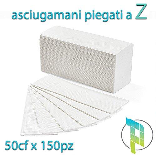 Palucart® 7500 asciugamani piegati a z asciugamani di carta per dispenser piegati a z microgoffrato pura cellulosa interfogliati 50 conf. da 150 pz