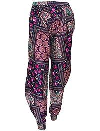 Attuendo de las mujeres Boho Chic Cintura elástica harén pantalones
