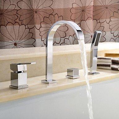 SUNNY KEY-Waschbecken Wasserhahn @ Zeitgenössische römische Badewanne weit verbreitet mit Keramik Ventil zwei Griffen vier Löcher für Chrome, Badewanne Wasserhahn (Römische Badewanne Wasserhahn Keramik)