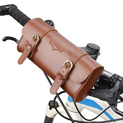 SunBeter Borsa per bicicletta Borsa da sella manubrio ciclismo in pelle retrò PU Borsa per attrezzi cilindro bici vintage
