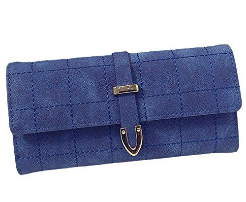Vintage Borsa PU Pelle Donne Portafoglio Lungo Borsellino Donna Portamonete dark Blue